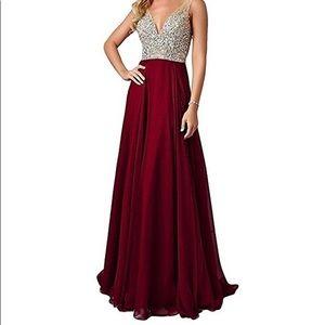 Dresses & Skirts - Womens Beaded Dress Long Chiffon Evening Gown